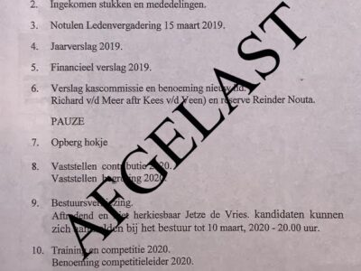 Algemene Leden Vergadering AFGELAST!